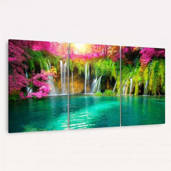 Quadro Paisagem Cachoeira ao Lago Floral - 3 Peças