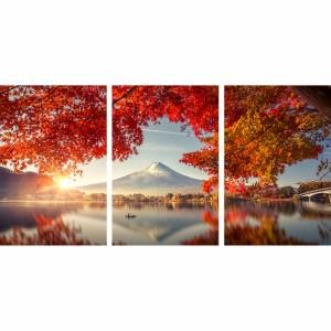 Quadro Árvore Folhas Vermelhas - Paisagem de Outono Oriental