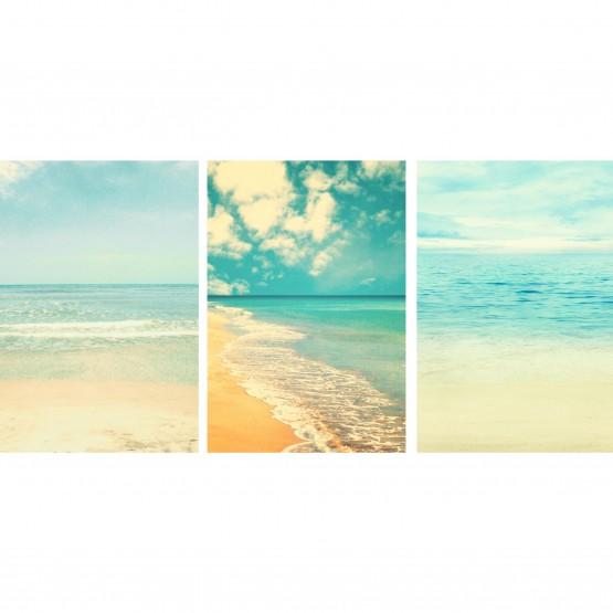 Kit Quadros Praia Mar Areia - Tons Pasteis Retro