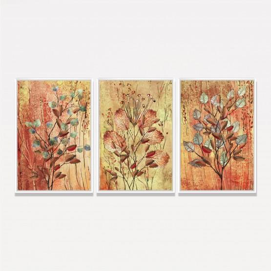 Kit Quadros Folhas Coloridas em Arte Abstrata Moderna - 3 Peças
