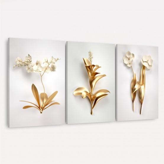 Kit Quadros Flores Douradas Modernas - Set of Golden Leaves
