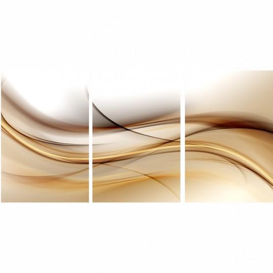 Quadro Abstrato Ondas de Ouro Marrom - 3 Peças