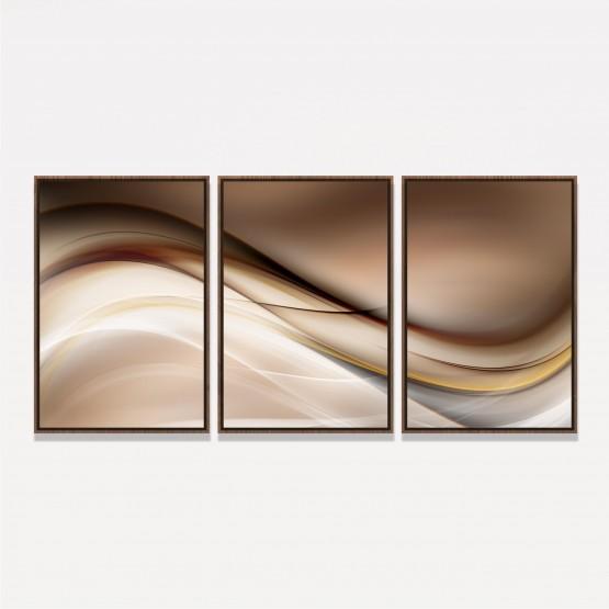 Quadro Abstrato Moderno em Arte - Ondas Brilhantes Marrom
