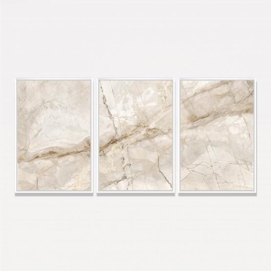 Quadro Abstrato Marmorizado Bege - 3 Peças