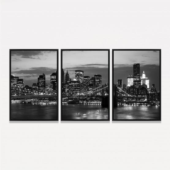 Quadro Cidade de Nova York Ponte de Manhattan - Preto e Branco