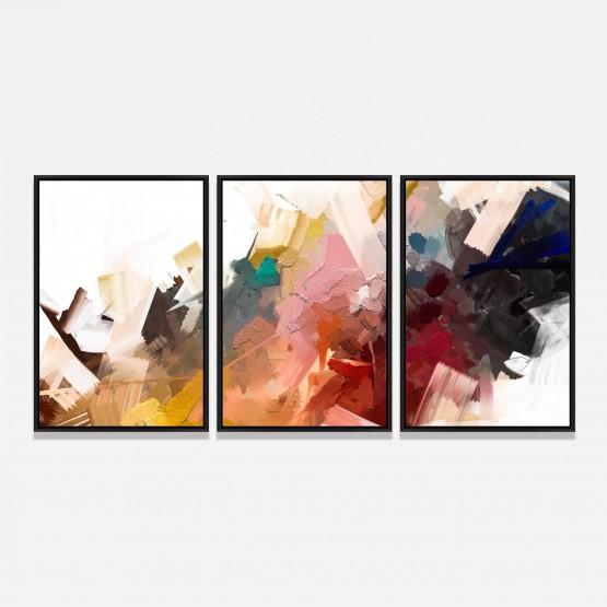 Quadro Abstrato Colorido Arte Contemporânea -3 Peças