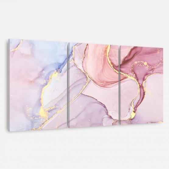 Quadro Abstrato Marmorizado Rose Alcohol Luxo - 3 Peças