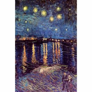 Quadro Noite Estrelada Sobre o Ródano - Van Gogh - Releitura