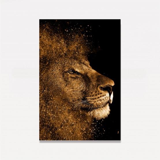 Quadro Leão de Judá Dourado decorativo