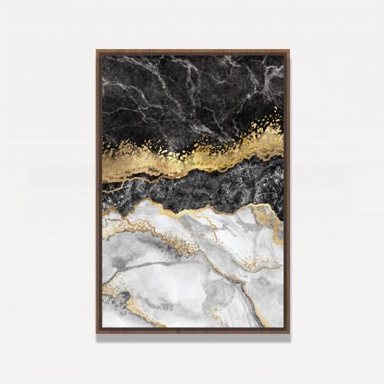 Quadro Abstrato Mármore Design Pedra Elegante Folha de Ouro