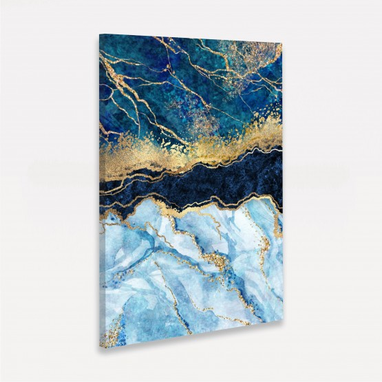 Quadro Abstrato Mármore Design Pedra Elegante - Tons de Azul