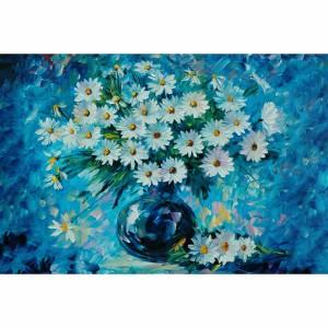 Quadro Vaso de Flores Brancas em Azul Artístico
