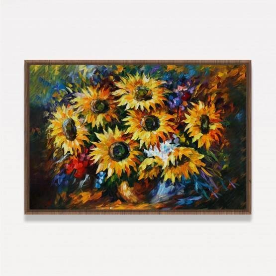 Quadro Vaso de Flores Girassóis em Arte decorativo