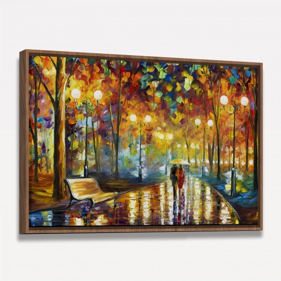 Quadro Abstrato Artístico Moderno Caminhando na Noite de Chuva