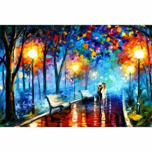 Quadro Abstrato Artístico Colorido - Couple Walking At Night