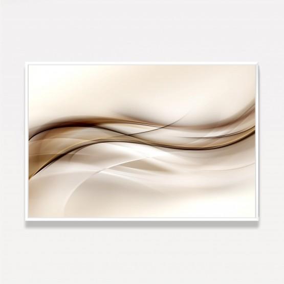 Quadro Abstrato Onda Design Moderno - Tons de Marrom e Bege