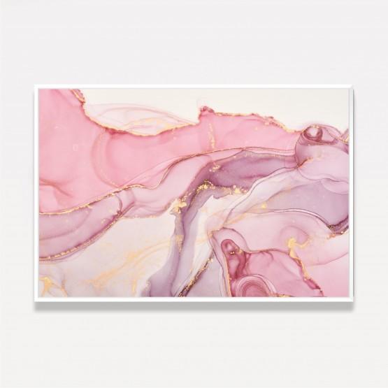 Quadro Abstrato Marmorizado Fluido Alcohol Rose Moderno