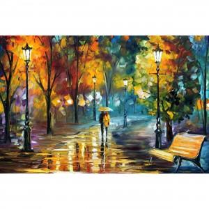 Quadro Abstrato Moderno Artístico - Couple in the Rain