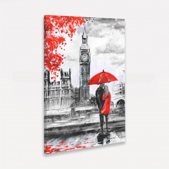 Quadro Casal na Chuva em Londres Artístico - Detalhes Vermelhos