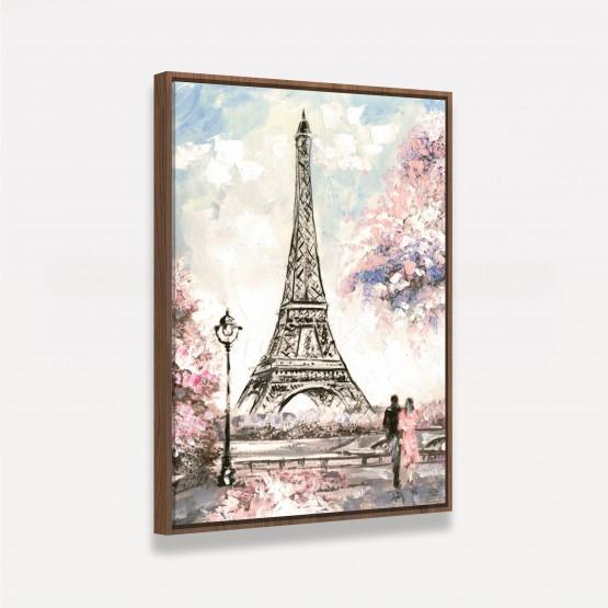 Quadro Artístico Caminhando em Paris - Detalhes em Rosa