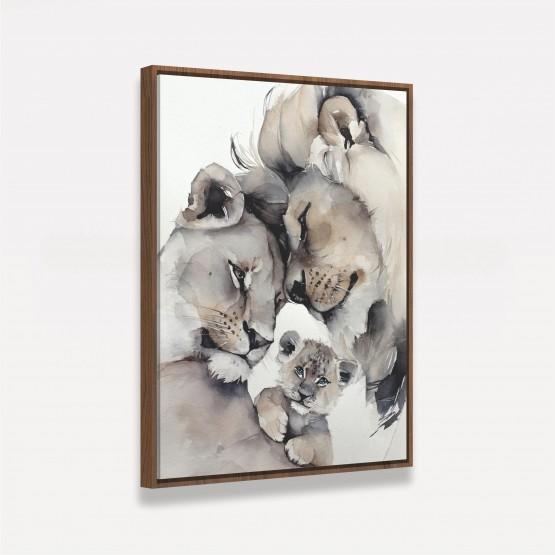Quadro Leão Casal e Filhote em Arte