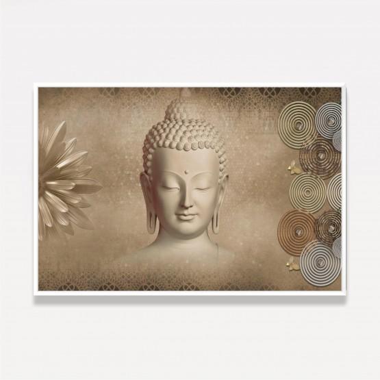 Quadro Buda Arte Flores e Círculos Abstrato