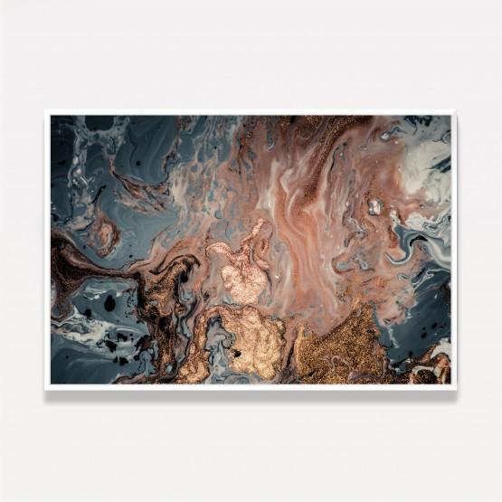 Quadro Moderno Abstrato Luxo Ondas Detalhes Brilhos Dourados