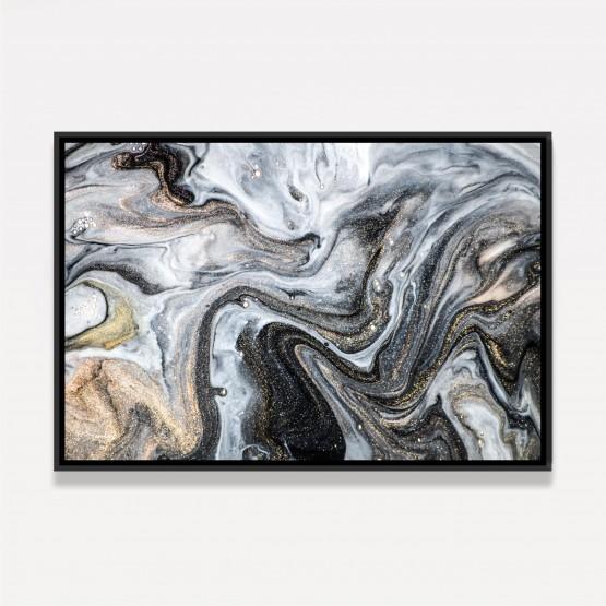 Quadro Moderno Abstrato Arte Luxo - Ondas Douradas