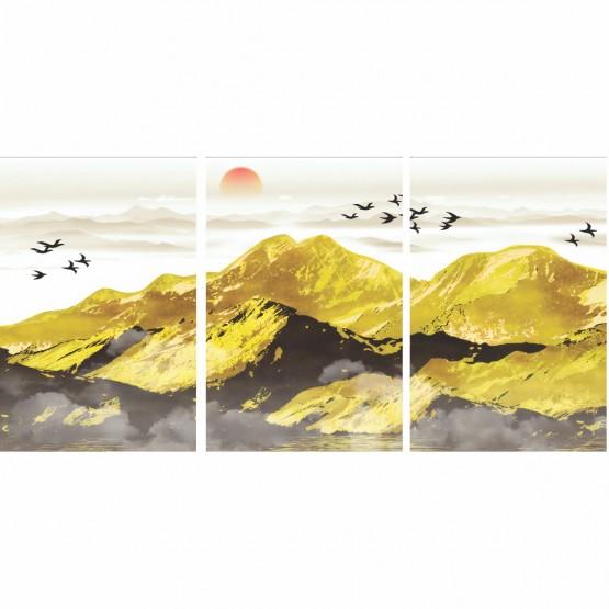 Quadro Paisagem Abstrata Modernas Montanhas Douradas - 3 Peças
