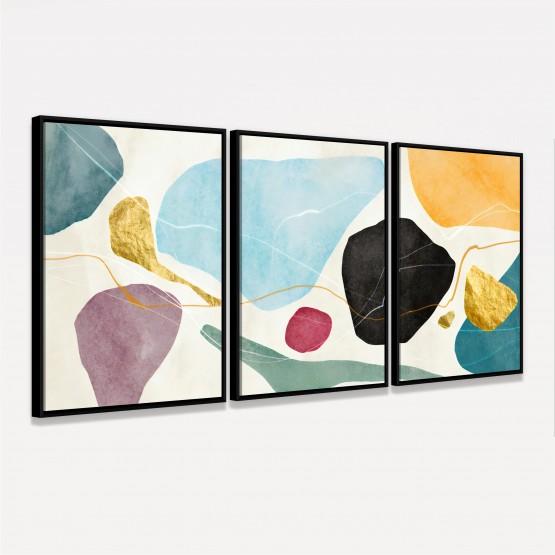 Quadro decorativo Abstrato Design Aquarela Colorido em 3 Peças
