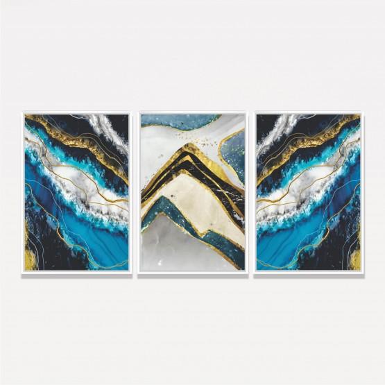 Kit Quadros Abstratos Tons Azul e Dourado decorativo - 3 Peças