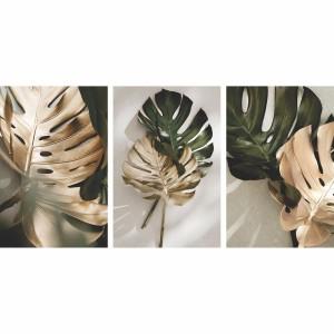 Kit Quadros Folhas Douradas e Verde Folhagem Vintage - 3 Peças