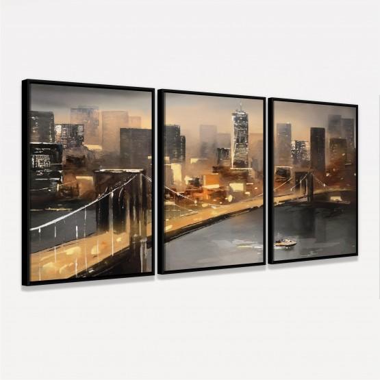 Quadro Abstrato Vista de Nova York Cidade Americana Moderna - 3 Peças
