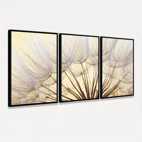 Quadro Flores Dente de Leao Closeup Natureza em Arte 3 Pecas