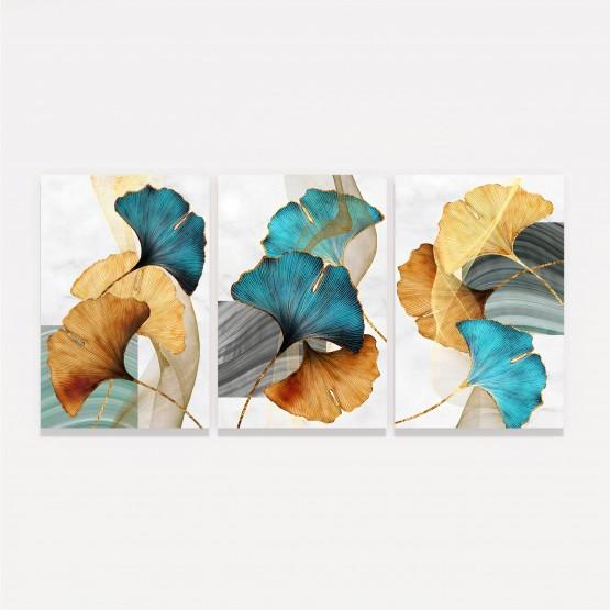 Kit Quadros Folhas Folhagem Luxo Modernas em Arte - 3 Peças