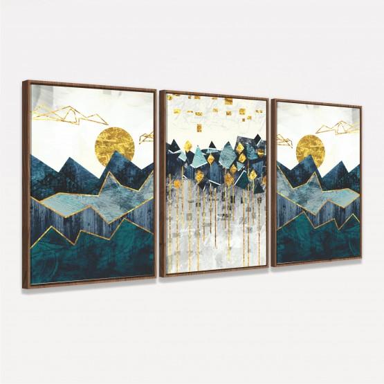 Kit Quadros Abstratos Paisagem Moderna Montanhas Sol Dourado - 3 Peças