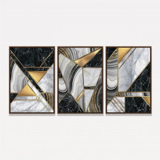 Quadro Abstrato Mármore Geométrico Luxuoso Preto e Dourado - 3 Peças