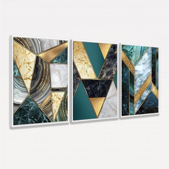 Quadro Abstrato Marmorizado Tons de Verde e Dourado Luxuoso Kit 3 Peças