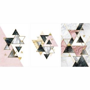 Quadro Abstrato Marmoreio Geométrico Luxo Tons de Rosa - 3 Peças