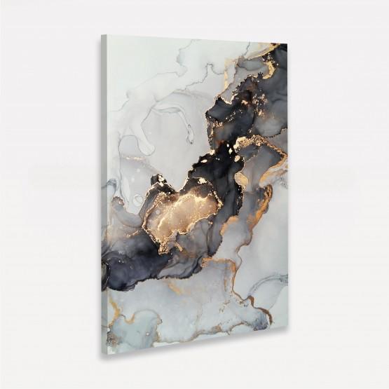 Quadro Abstrato Marmorizado Dourado Luxo