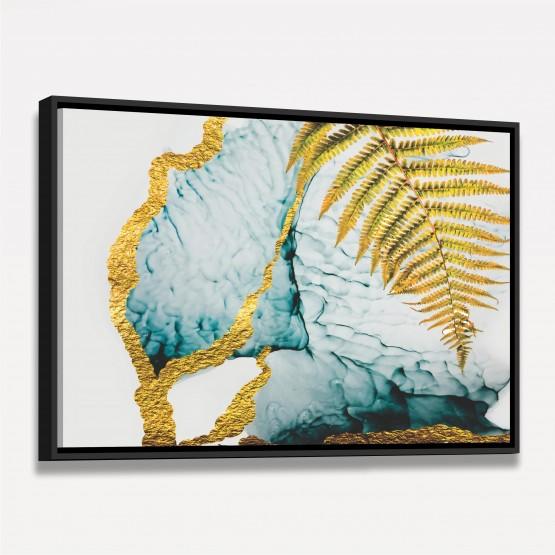 Quadro Abstrato Moderno Folhagem Dourada