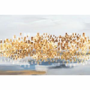 Quadro Abstrato Contemporâneo Detalhes Dourados