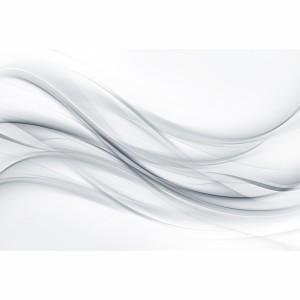 Quadro Abstrato Ondas Clean Cinza e Branco