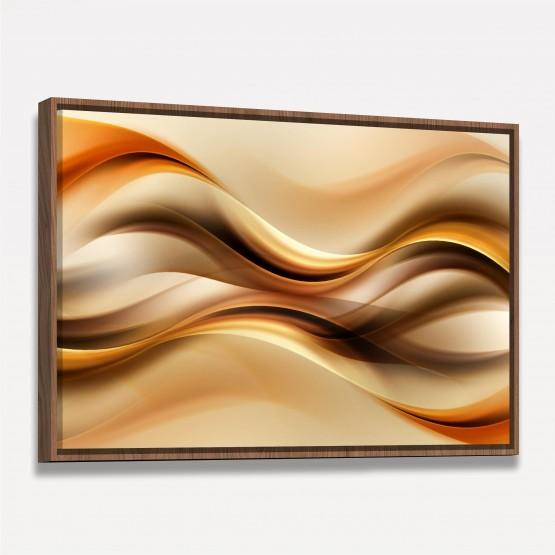 Quadro Abstrato Moderno Ondas Marrom e Dourado