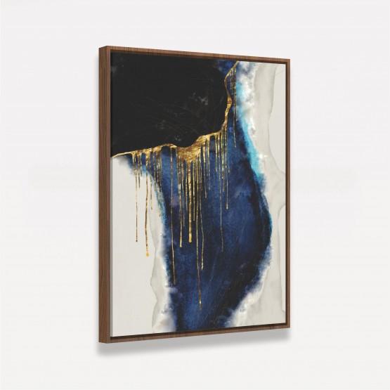 Quadro Abstrato Arte Moderna Fine Preto Azul Dourado