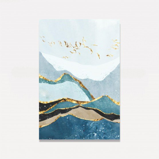 Quadro Abstrato Fine Azul Verde Dourado Padrão de Montanhas