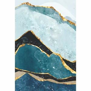 Quadro Abstrato Montanhas Golden Nordic
