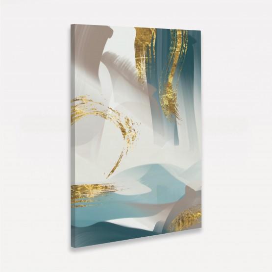 Quadro Abstrato Golden Aquarela Artístico Moderno