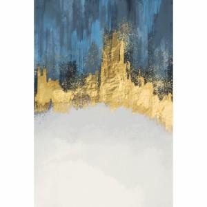 Quadro Abstrato Luxo em Arte Moderna Azul & Dourado