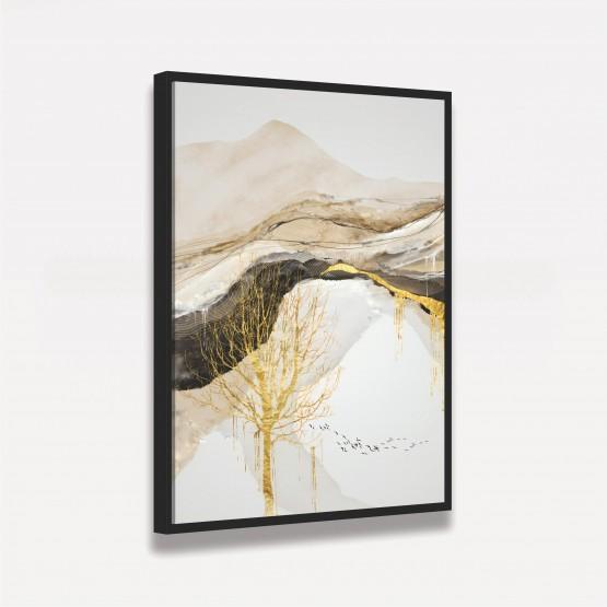 Quadro Abstrato Árvore Dourada Luxo decorativo